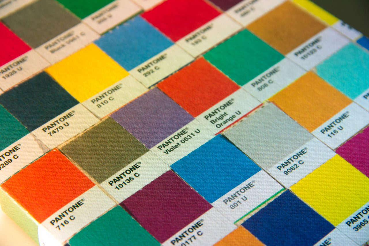 pantone color swatches on board